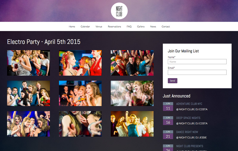 Nightclub WordPress Theme - Lightbox photo gallery