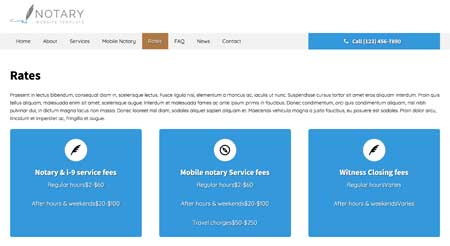 Notary WordPress Theme - Clear pricing page