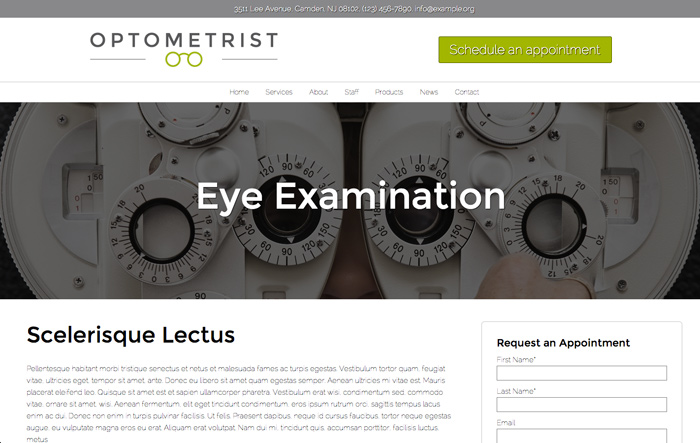 Optometrist WordPress Theme - Attractive service pages