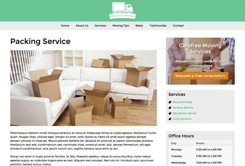 Packers And Movers WordPress Theme - Solid detail pages