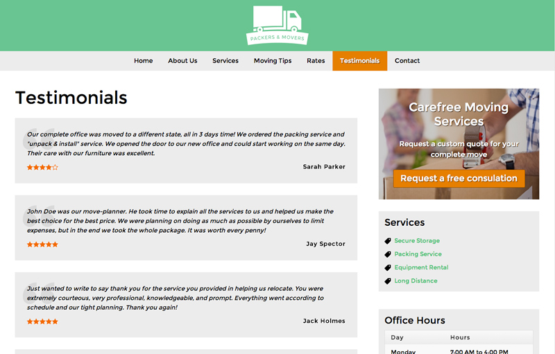 Packers And Movers WordPress Theme - Reviews section