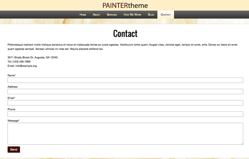Painter WordPress Theme - Contact page with route planner