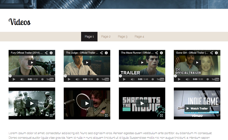 Performer WordPress Thema - Video galerij