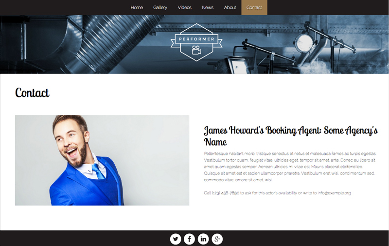 Performer WordPress Thema - Contact informatie