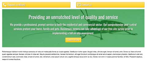 Pest Control WordPress Theme - Bright calls-to-action