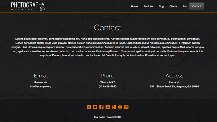 Photography Portfolio WordPress Theme - Contact page with route planner