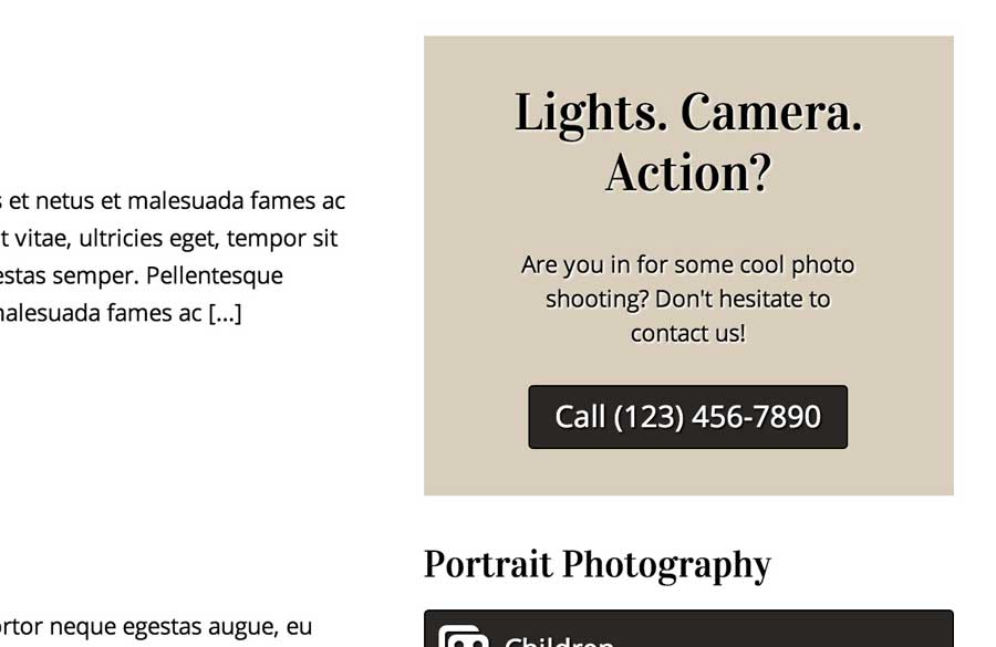 Photography Studio WordPress Theme - Visible call-to-actions