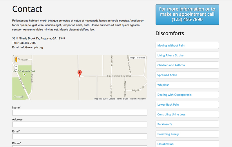 Fysiotherapeut WordPress Thema - Contact pagina met route planner