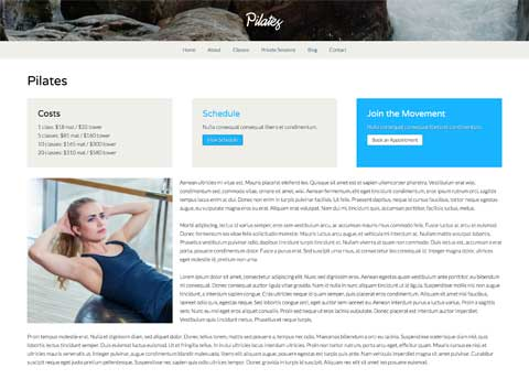Pilates WordPress Theme - Appealing service pages