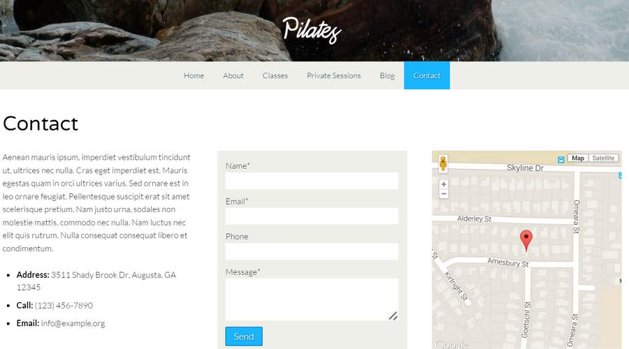 Pilates WordPress Theme - Clear contact info