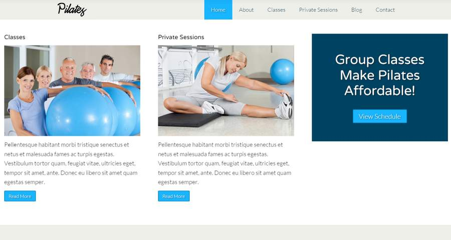 Pilates WordPress Theme - Service listing