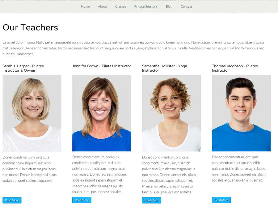 Pilates WordPress Theme - Introduce your company