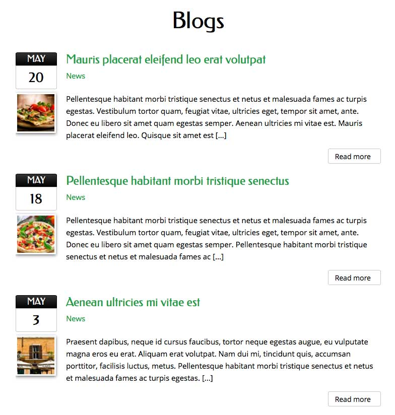 Pizza WordPress Thema - restaurant artikelen