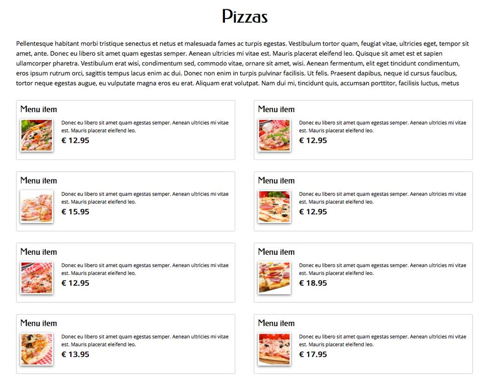 Pizza WordPress Thema - Menu overzicht