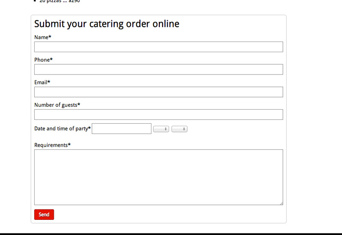 Pizzeria WordPress Theme - Catering form