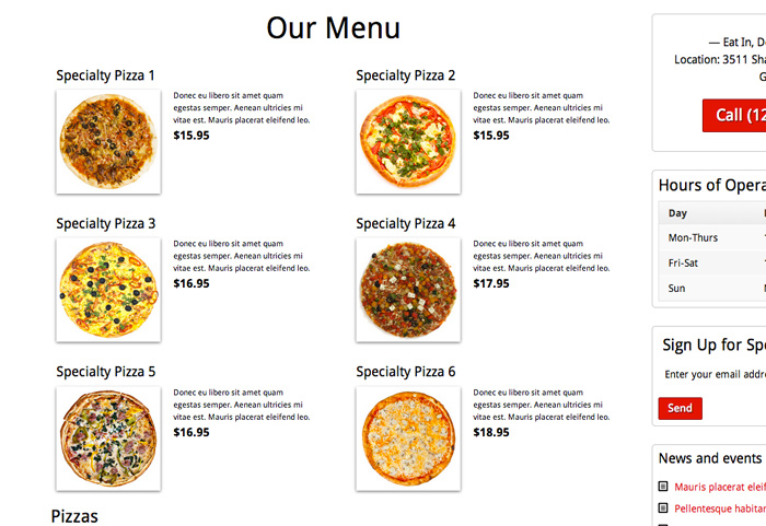 Pizzeria WordPress Theme - Built-in menu page
