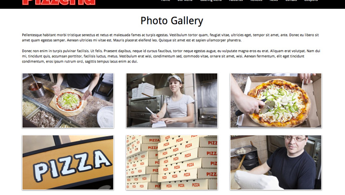 Pizzeria WordPress Theme - Integrated image gallery