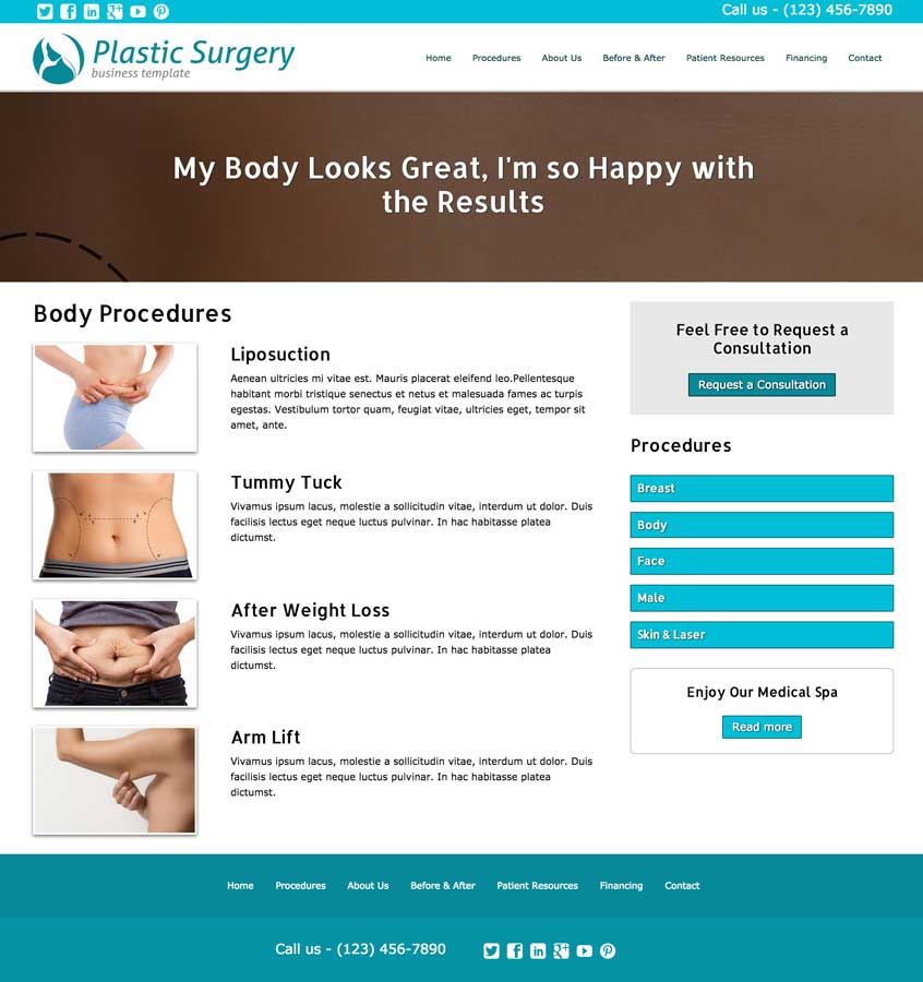 Plastic Surgery WordPress Theme - Solid detail pages