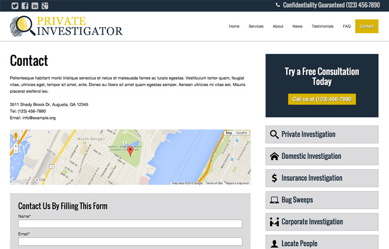 Private Investigator WordPress Theme - Strong contact section