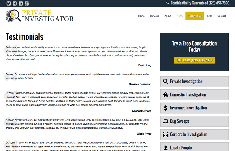 Private Investigator WordPress Theme - Share client reviews