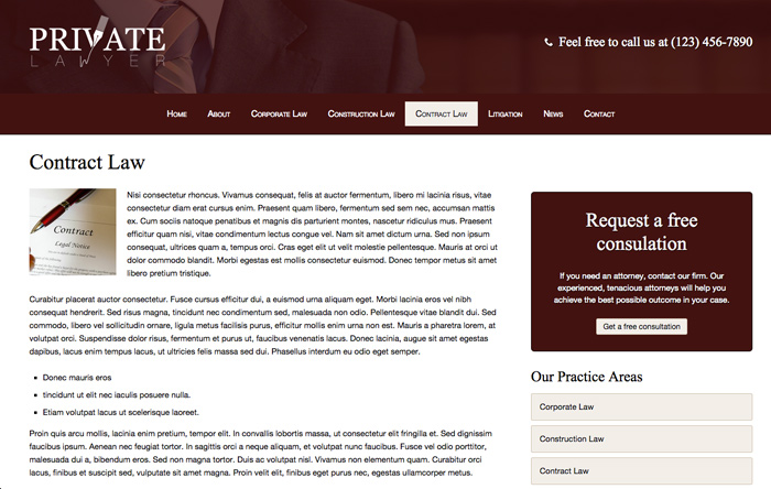 Private Lawyer WordPress Theme - Strong service pages