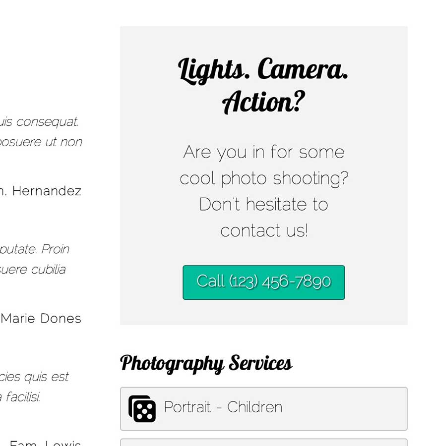 Professional Photographer WordPress Theme - Call-to-actions