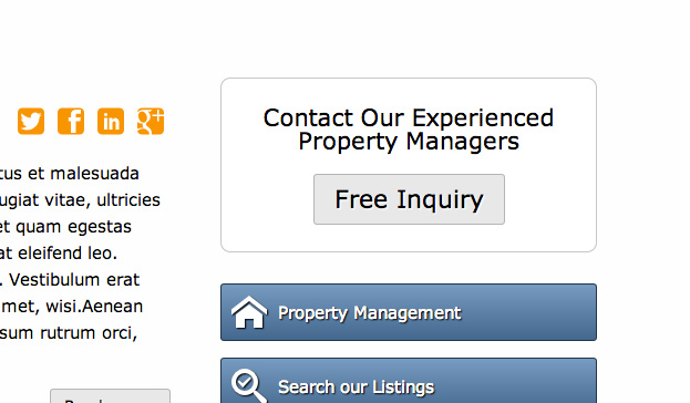 Real Estate WordPress Theme - Configurable call-to-actions