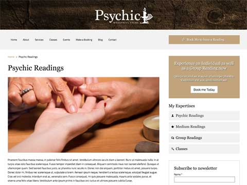 Psychic WordPress Theme - Detailed service pages