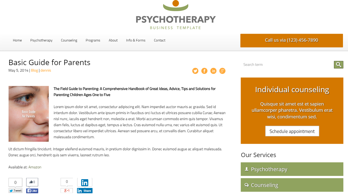 Psychotherapy WordPress Theme - Integrated news section