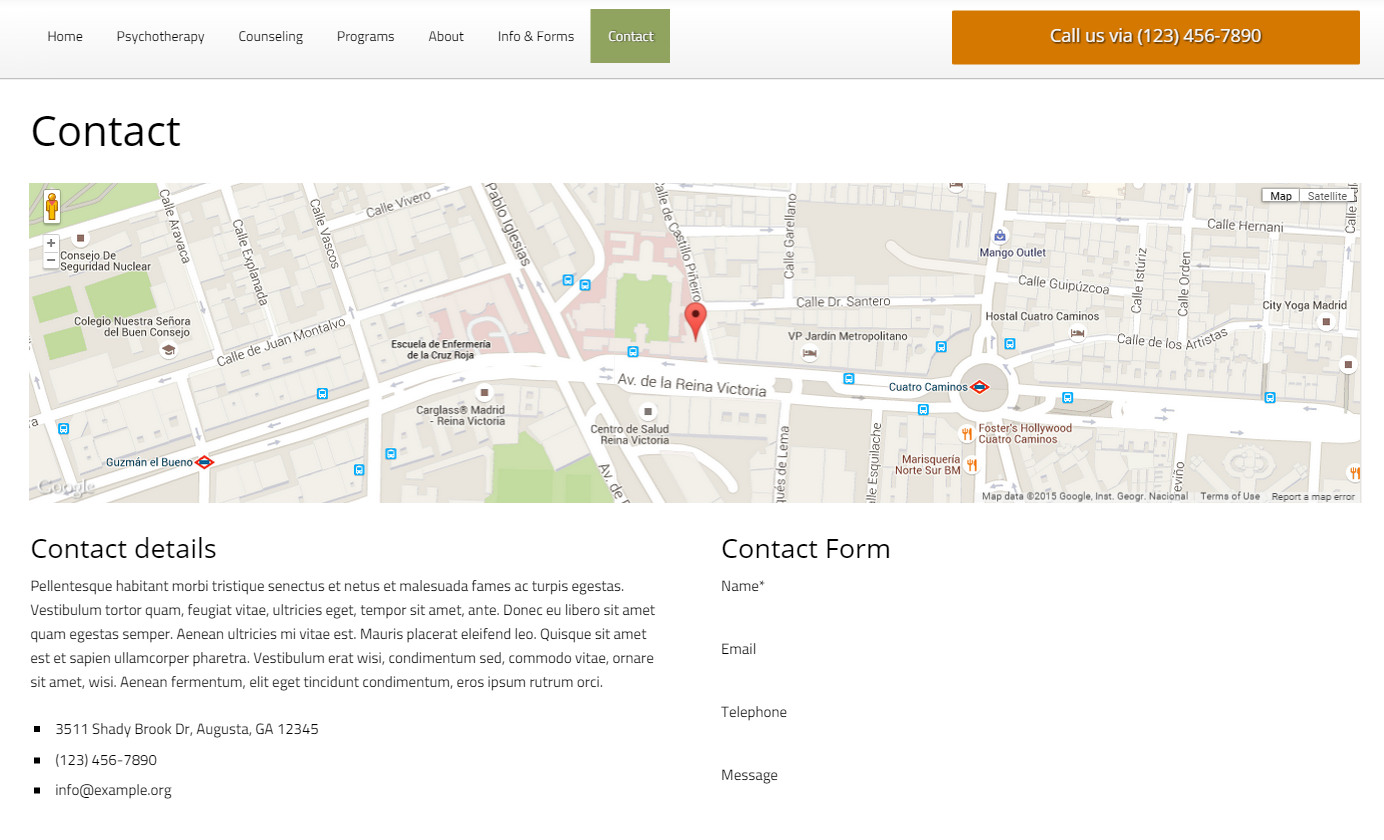Psychotherapy WordPress Theme - Clear contact page