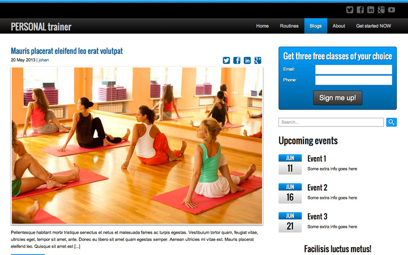 Personal Trainer WordPress Theme - Classic blog integrated