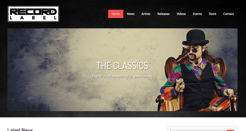 Record Label WordPress Theme - Classic slider included