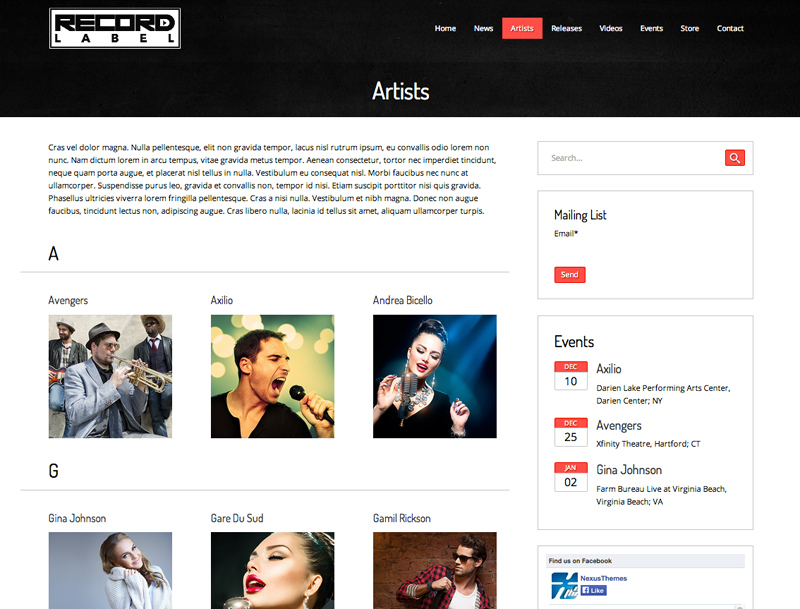 Record Label WordPress Theme - Attractive service pages