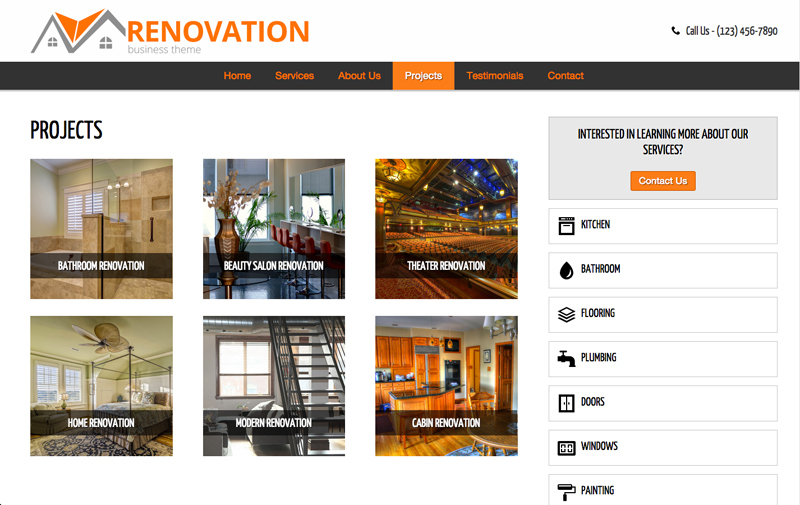 Renovation WordPress Theme - Project overview page