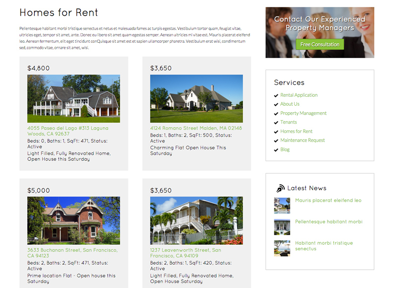 Rental Property WordPress Theme - List available properties
