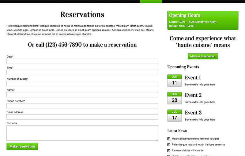 Restaurant WordPress Theme - Online reservations