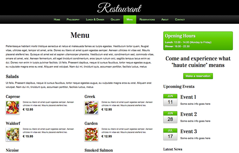 Restaurant WordPress Theme - Neat menu page