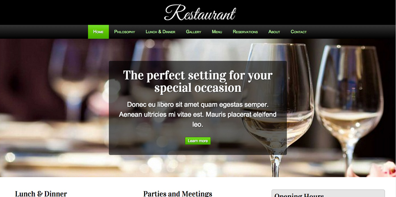 Restaurant WordPress Theme - Impressive slider