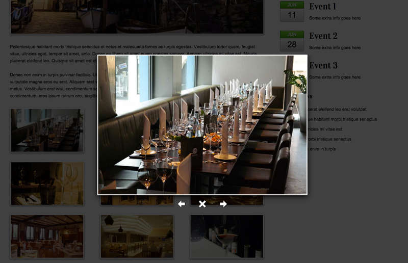 Restaurant WordPress Theme - Lightbox photo gallery
