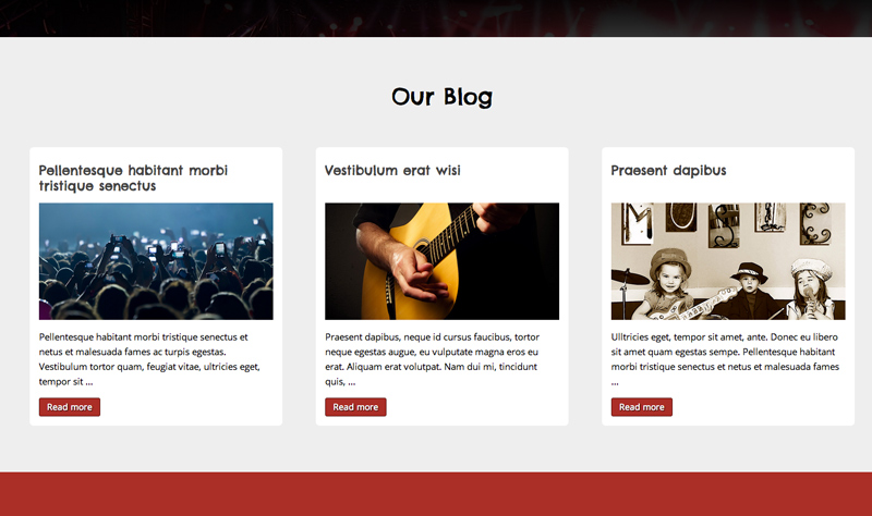Rock Band WordPress Thema - Ingebouwd blog