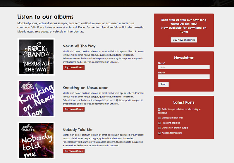 Rock Band WordPress Thema - Solide dienst pagina's