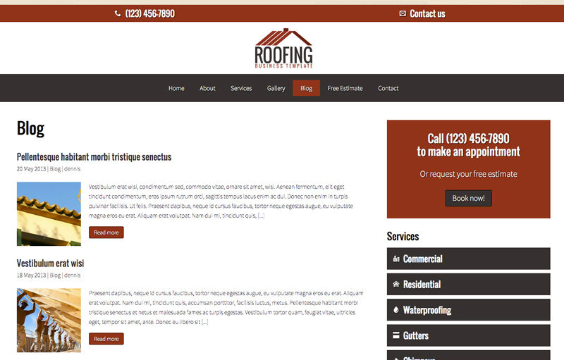 Roofing WordPress Theme - Built-in blog
