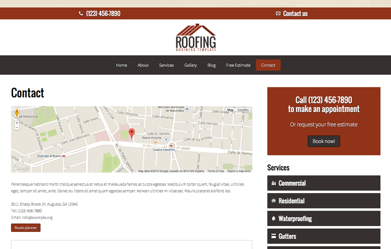 Roofing WordPress Theme - Contact page