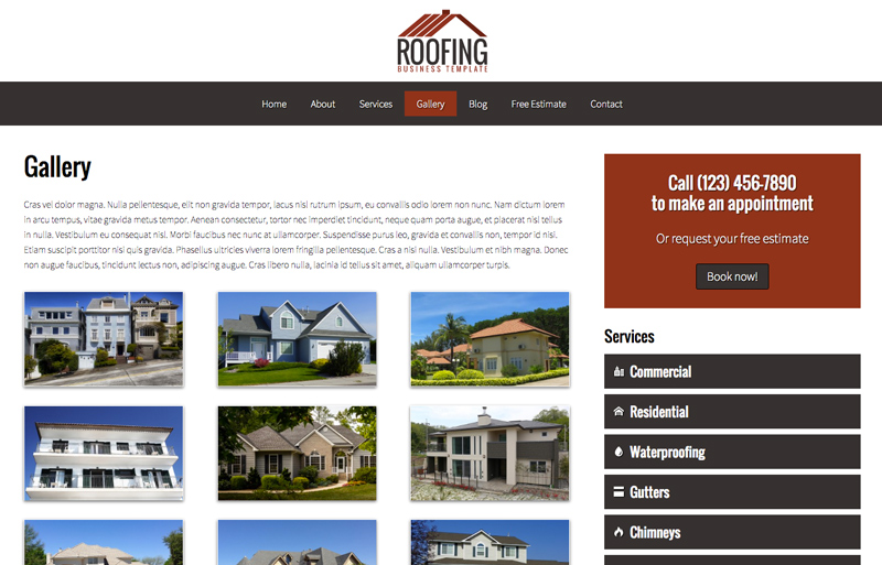 Roofing WordPress Theme - Sleek image gallery