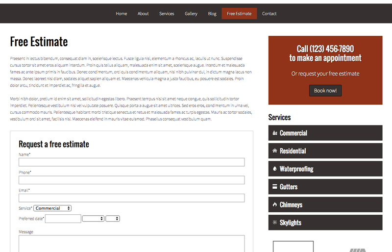 Roofing WordPress Theme - Quote request form