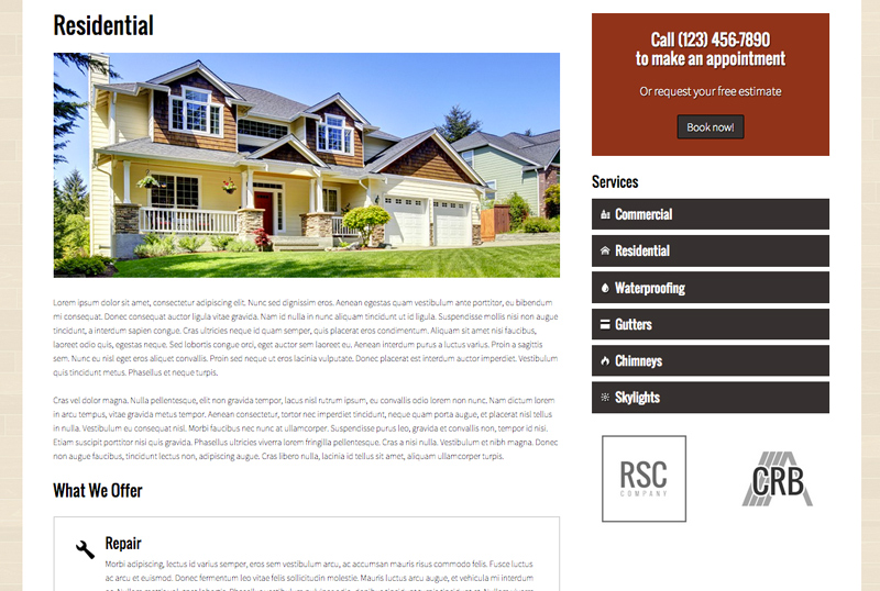 Roofing WordPress Theme - Stellar service pages