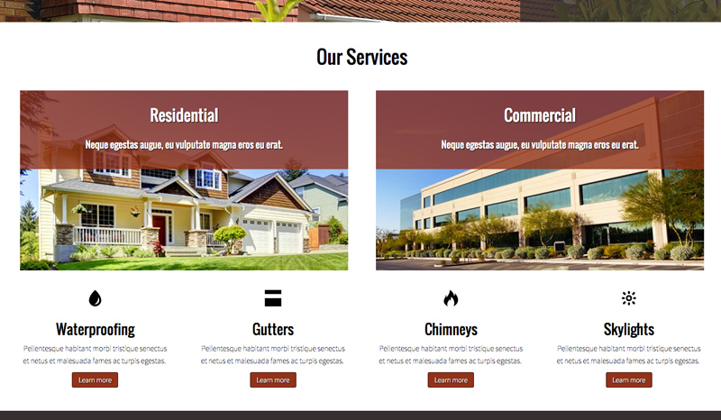 Roofing WordPress Theme - One-glance overview