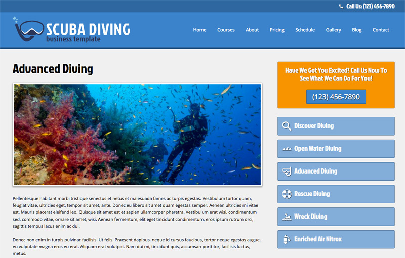 Scuba Diving WordPress Theme - Solid detail pages