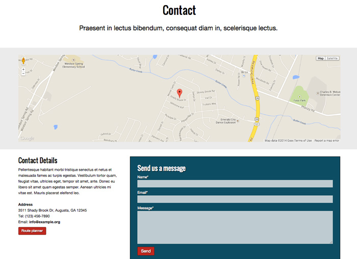 Security Company WordPress Theme - Clear contact information