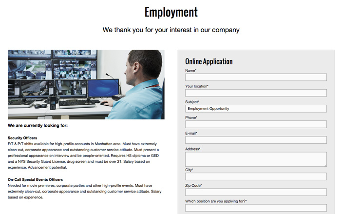 Security Company WordPress Theme - Offer employment information